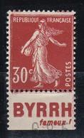 PUBLICITE: SEMEUSE 30C  ROUGE SOMBRE BYRRH-fameux B ACCP 152* - Advertising