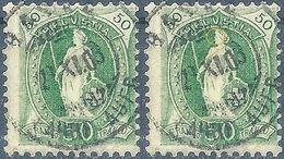 Stehende Helvetia 74E, 50 Rp.grün  BASEL  (Abarten)       1903 - Oblitérés