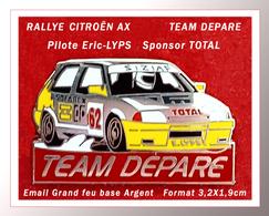 SUPER PIN'S CITROËN RALLYE : Eric LYPS Sur CITROËN AX,  Sponsor TOTAL, EGF Argent, Format 3,2X1,9cm - Citroën