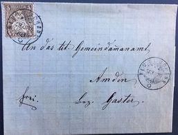Schweiz 1875: Siegel-Faltbrief Mit Zu 30 Mi 22 Mit O NEU ST.JOHANN 28.XII.75 über WATTWIL UZNACH & WEESEN Nach Amden - 1862-1881 Helvetia Assise (dentelés)