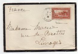 Maroc -- 1938 --Lettre De TANGER  Pour LIMOGES (France)--timbre Seul Sur Lettre--enveloppe Décès - Lettres & Documents