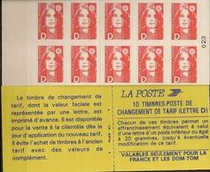 FRANCE CARNET 2713-C1 Carnet Composé De 10 Timbres Type Marianne De Briat Lettre D Rouge N°2712 Non Dentelé - Usage Courant