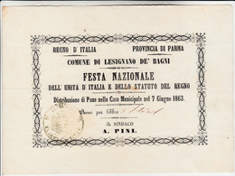 Regno D'Italia, Parma Comune Di Lesignano De Bagni. Festa Nazionale Unità D'Italia 1863 - Programmi