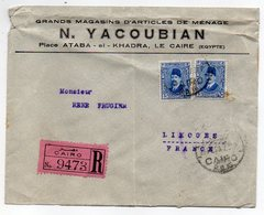 Egypte -- 1923--lettre Recommandée LE CAIRE Pour LIMOGES (France)-personnalisée Gds Magasins N.YACOUBIAN - Lettres & Documents