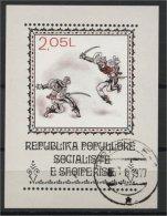 ALBANIA, NATIONAL ENDEAVOR AND FOLK'S DANCES 1977, U SOUVENIR SHEET - Albanie