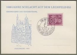 """Bund: Sonderkarte, Gedenkkarte, Ersttagskarte Mi-Nr. 216 ESST: """" 1000 Jahre Schlacht Auf Dem Lechfeld """" !           X - Storia Postale"""