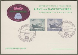 """Berlin: Sonderkarte Mi-Nr. 126-27 SST; Motorschiff BERLIN: """" Fachschau Gast Und Gastgewerbe Düsseldorf """" !   X - Covers & Documents"""