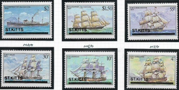 St Kitts SG42w-47w 1980 Ships Set 6v Watermark Variety Complete Unmounted Mint [38/31582/1D] - St.Kitts And Nevis ( 1983-...)