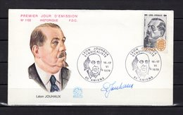 """"""" LEON JOUHAUX """" Sur Enveloppe 1er Jour De 1979 SIGNEE Par JOUHAUX. N° YT 2030. Parfait état FDC - FDC"""