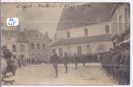 CEZY- CARTE-PHOTO- L APPEL DES DES ARTILLEURS SUR LA PLACE EN 1914- PLIURES - France
