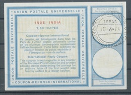 INDE / INDIA  Type XX  1,50 RUPEE International Reply Coupon Reponse Antwortschein  IRC IAS  O AHMEDABAD 10.6.74 - Briefe
