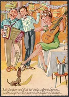 B8787 - TOP Humor Scherzkarte - Feier Hund Gitarre Akkordeon Flöte Orchester - Humour