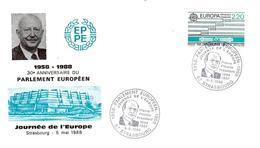 Enveloppe + Carte Journée De L'Europe 30e Ann Parlement Européen Hommage à Pierre Pfimlin - Strasbourg 05/05/88 - European Community