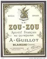 ETIQUETTE NEUVE LIQUEUR ALCOOL LE ZOU-ZOU (ZOUZOU)  Apéritif Francais Année 1930 Au Quiquna GUILLOT BLANZAC 12cmx9cm - Labels