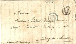 1829- Lettre En Port Payé De Paris  60 /P.P. / F Noir    Pour Braye Sur Seine - 1801-1848: Vorläufer XIX