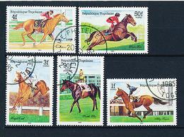5 Timbres Oblitérés TOGO 1985 Hippisme Chevaux De Course  Jockey  Seattle Slew  Single Creek   Alleg France  Dawn Run * - Horses