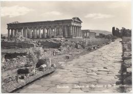 PAESTUM, Tempio Di Nettuno E La Basilica, Neptune's Temple And Basilica, 1964 Used Real Photo Postcard [22071] - Salerno