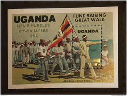 "Oeganda Ouganda Uganda 1985 Vanquers Los Angeles Surcharge Men""s Hurdles Edwin Moses  USA  Bloc Yv 49 MNH ** - Ouganda (1962-...)"