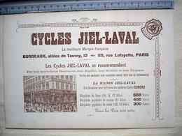 33 Bordeaux EXPOSITION DE 1895 Publicité CYCLES JIEL LAVAL 12 Allées De Tourny à BORDEAUX - Reclame