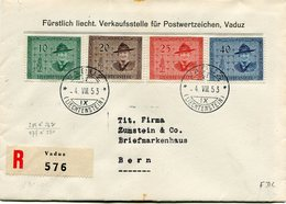 LIECHTENSTEIN THEME SCOUTISME LETTRE RECOMMANDEE AFFRANCHIE AVEC LES N°277/80 DEPART VADUZ 4 VIII 53 POUR LA SUISSE - Liechtenstein