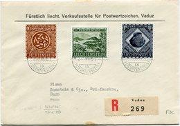 LIECHTENSTEIN LETTRE RECOMMANDEE AFFRANCHIE AVEC LES N°281/83 DECOUVERTES... DEPART VADUZ 25 XI 53 POUR LA SUISSE - Liechtenstein