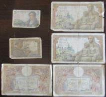France - Lot De 6 Billets Français De 5f, 10f, 100f Et 1000 Francs - Etat D'usage - 1871-1952 Anciens Francs Circulés Au XXème