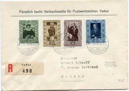 LIECHTENSTEIN LETTRE RECOMMANDEE AFFRANCHIE AVEC LES N°273/76 REPRODUCTIONS DE.... DEPART VADUZ 25 XI 53 POUR LA SUISSE - Liechtenstein