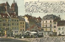 Suisse CPA Bale Basel Barfusserplaz Leonhardkirche Markt Marché Animation 1902 - BS Bâle-Ville