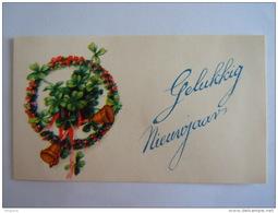 Mignonnette Gelukkig Nieuwjaar Bloemen Klokken Fleurs Cloches Form 8.7 X 5.2 Cm + Enveloppe - Nouvel An