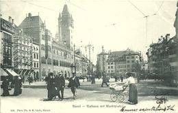 Suisse CPA Bale Basel Rathaus Marktplatz Animation 1902 - BS Basel-Stadt