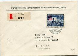 LIECHTENSTEIN LETTRE RECOMMANDEE AFFRANCHIE AVEC LE N°271 EGLISE DE BENDERN DEPART VADUZ 25 IX 52 POUR LA SUISSE - Liechtenstein