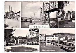 CPM DIFFERDANGE Multi-vues ( Usines, Monument, Place Marché, Bassins, Natation ) Circulée En 1961 - Differdange