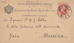 Entier Postal Wien 1883 Autriche Österreich Messina Sicilia Italia Skofitz - Interi Postali