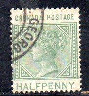 W433 - GRENADA 1883 , 1/2 Cent Yvert N. 13  Usato. Fil CA - Grenada (...-1974)