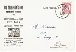 """CP Publicitaire AUBEL 1947 - """"DIE FLIEGENDE TAUBE"""" - Joseph WILLEMS - Buchdruckerei - Buchandlung - Aubel"""