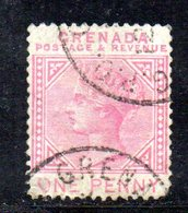 W461 - GRENADA 1887 , 1 Cent Yvert N. 23 (gibbons 40) Usato. Fil CA CAPOVOLTA : Non Catalogata - Grenada (...-1974)