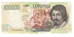Italy 100000 Lire Caravaggio 2 Type - [ 2] 1946-… : Républic