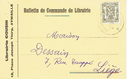 CP Publicitaire AYWAILLE 1947 - Librairie COUSIN - Aywaille