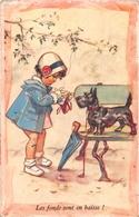 """¤¤   -  Illustrateur  """" Germaine BOURET """"  -  Les Fonds Sont En Baisse !  -  Petite Fille  -  Chien , Scottish    -  ¤¤ - Bouret, Germaine"""
