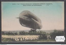 1901 AV340 AK PC CPA LE TORRES QUEVEDO DIRIGEABLE MILITAIRE ESPAGNOL DANS LE PARC DE GUADALAJARA NC TTB - Dirigibili