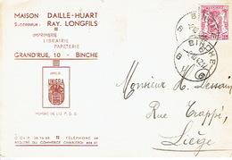 CP Publicitaire BINCHE 1947 - MAISON DAILLE-HUART - Successeur : Ray. LONGFILS - Imprimerie - Librairie - Papeterie - Binche