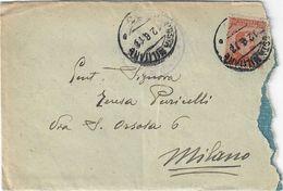 """BUSTA CON ANNULLO """"POSTA MILITARE ?3 - 12.8.1917"""" - OSPEDALE CHIRURGICO MOBILE """"CITTÀ DI MILANO"""" SASSONE 107 - Poste Militaire (PM)"""