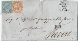 PIEGO DA MODENA A REVERE AFFRANCATO CON FRANCOBOLLI DA C. 10 E C. 15 - SASSONE TIRATURA LONDRA 18/17 - 25.1.1864 - 1900-44 Victor Emmanuel III