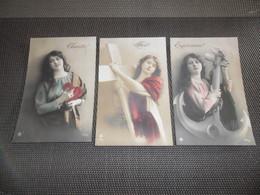 Femme ( 1224 )  Vrouw  Lot De 3 Cartes Postales  Lot Van 3 Postkaarten - Charité   Foi   Espérance - Mode