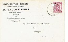 PK Publicitaire BILZEN 1947 - W. JACOBS-BEULS - Stokkerij - Distillerie - Torréfation De Cafés - Bilzen