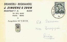 PK Publicitaire BILZEN 1959 -  J. SIMOENS & Zoon - Drukkerij - Boekhandel - Bilzen