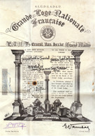 1967 - Franc-Maçon - Certificat - Loge Saint-Jean Aux Trois Chardons Au 13 Bis, Rue Charles Friedel - FRANCO DE PORT - Diploma & School Reports