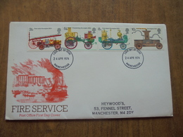 S052: FDC: FIRE SERVICE. 3.5p, 5.5p, 8p, 10p. 24 APR 1974 Manchester. POST OFFICE FIRST DAY COVER. - FDC