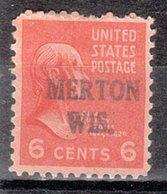 USA Precancel Vorausentwertung Preo, Locals Wisconsin, Merton L-1 HS - Vereinigte Staaten