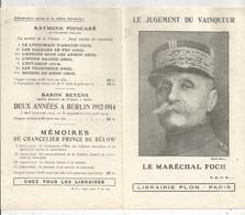 Publicité , Librairie  PLON , Paris , Militaria ,LE MARECHAL FOCH , Le Jugement Du Vainqueur , 2 Scans , Frais Fr 1.45 E - Publicités